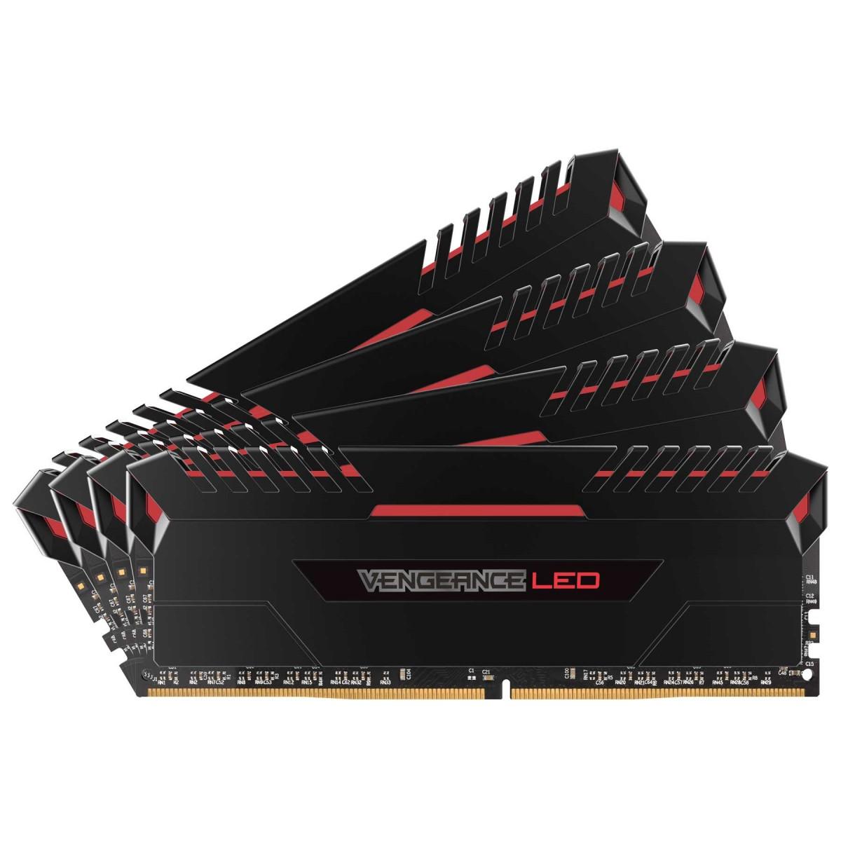 CORSAIR Vengeance LED Red 32GB DDR-4 3466MHz (8GBX4) Kit Memory